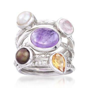 6mm Cultured Pearl and 6.00 ct. t.w. Multi-Stone Jewelry Set: Five Stackable Sterling Silver Rings, , default