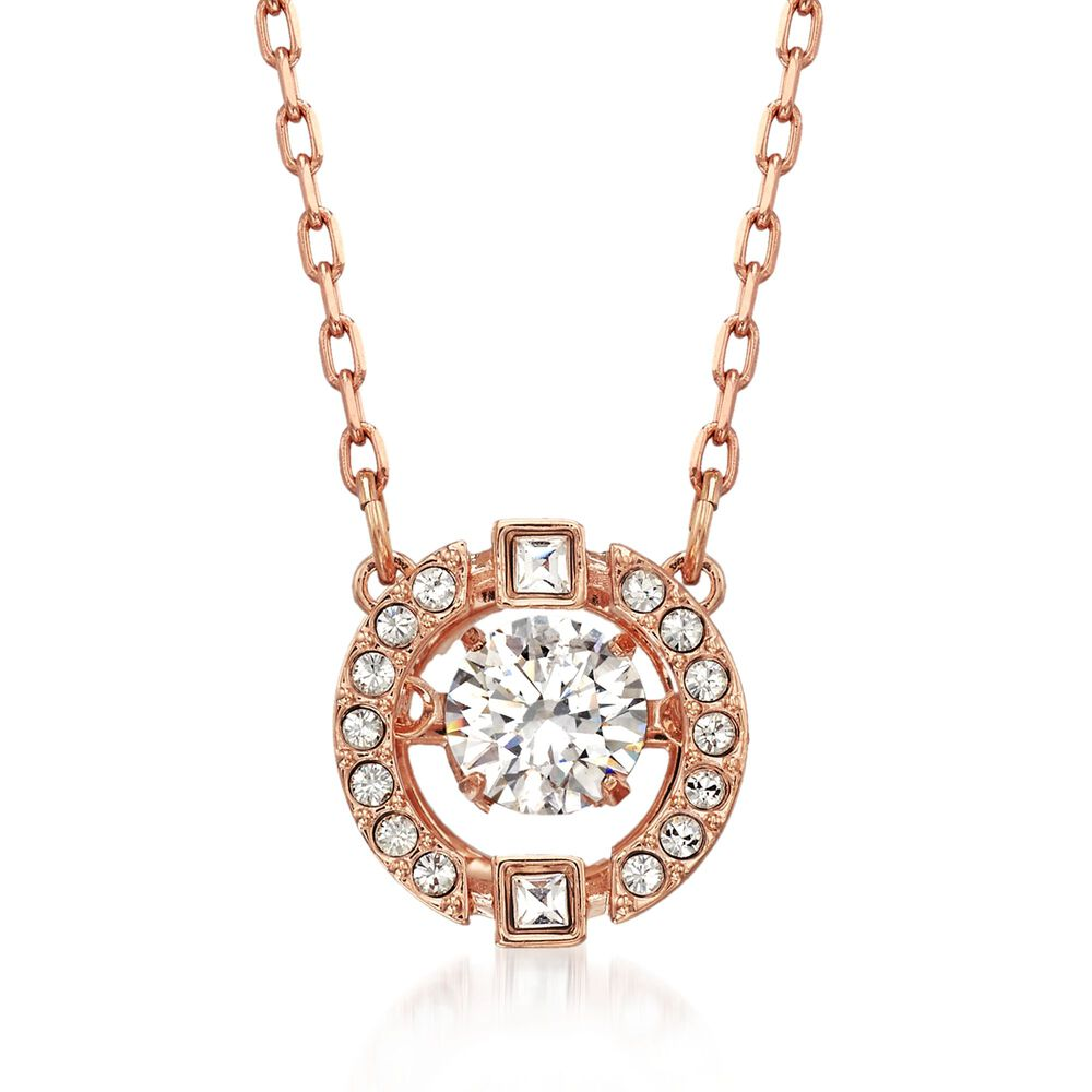 03d73fb56a8323 Swarovski Crystal  quot Sparkling Dance quot  Floating Crystal Necklace in  Rose Gold Plate.