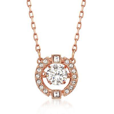 """Swarovski Crystal """"Sparkling Dance"""" Floating Crystal Necklace in Rose Gold Plate, , default"""