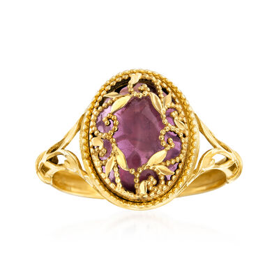 Italian 1.80 Carat Amethyst Floral Vine Ring in 14kt Yellow Gold, , default