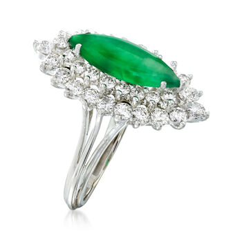 C. 1980 Vintage Nephrite and 1.45 ct. t.w. Diamond Ring in 18kt White Gold. Size 5, , default