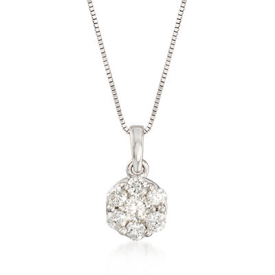 .50 ct. t.w. Diamond Flower Cluster Pendant Necklace in 14kt White Gold, , default