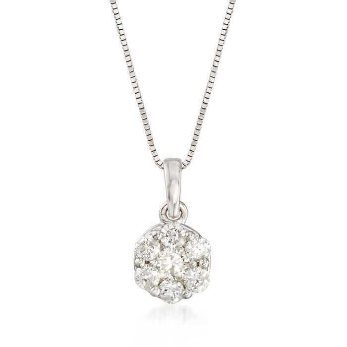 ".50 ct. t.w. Diamond Flower Cluster Pendant Necklace in 14kt White Gold. 18"", , default"