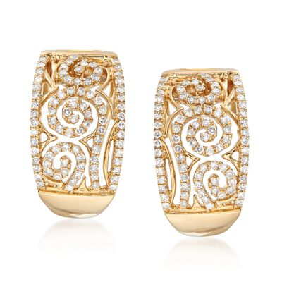.64 ct. t.w. Diamond Swirl Half-Hoop Earrings in 14kt Yellow Gold , , default