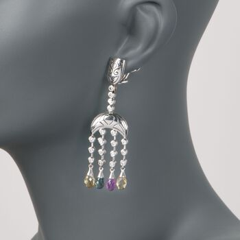 C. 2000 Vintage 18.50 ct. t.w. Multicolored Sapphire and Diamond Chandelier Earrings in 14kt Gold , , default
