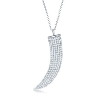 """.75 ct. t.w. Pave CZ Horn Pendant Necklace in Sterling Silver. 16.75"""", , default"""