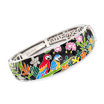 "Belle Etoile ""Macaw"" Multicolored Enamel Bangle Bracelet with CZ Accents in Sterling Silver, , default"