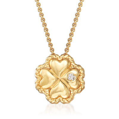 "Phillip Gavriel ""Italian Cable"" Clover Pendant Necklace with Diamond Accent in 14kt Yellow Gold, , default"