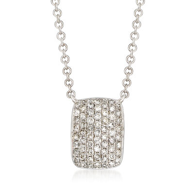 .22 ct. t.w. Pave Diamond Square Necklace in 14kt White Gold, , default