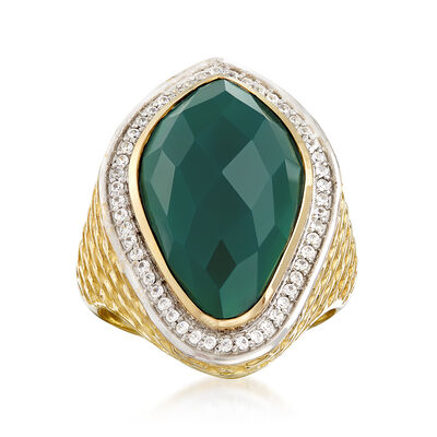 Green Chalcedony and .30 ct. t.w. White Zircon Ring in 18kt Gold Over Sterling, , default