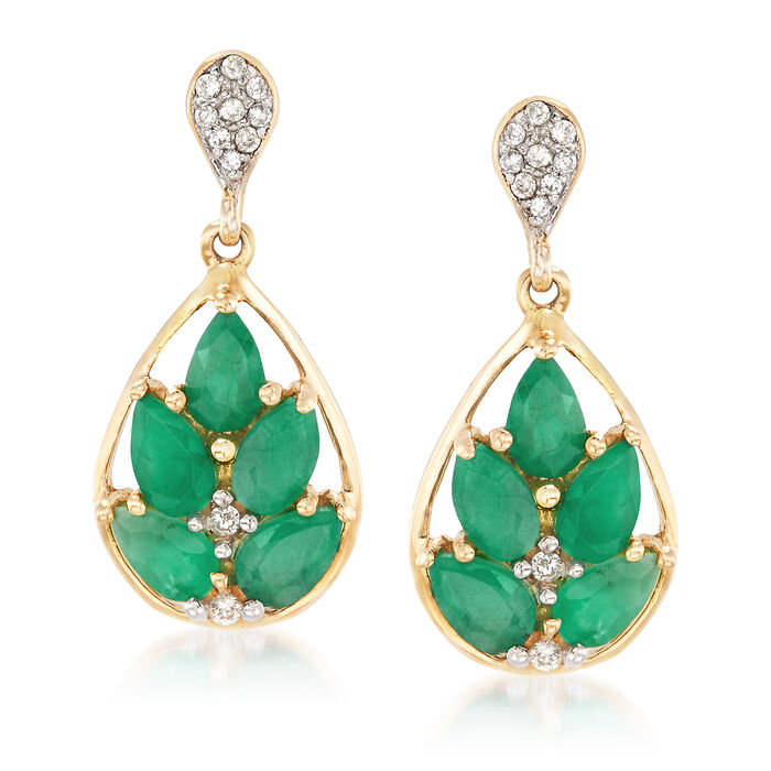 2.10 ct. t.w. Emerald and .12 ct. t.w. Diamond Drop Earrings, , default