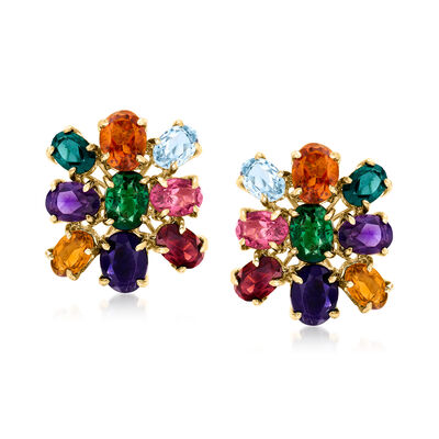 C. 1980 Vintage 12.30 ct. t.w. Multi-Gem Cluster Earrings in 14kt Yellow Gold