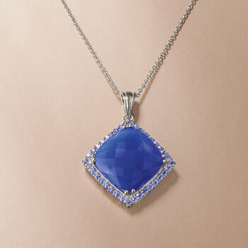 17.5mm Blue Chalcedony and 1.00 ct. t.w. Tanzanite Pendant Necklace in Sterling Silver, , default