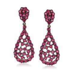 3.10 ct. t.w. Ruby Teardrop Cluster Earrings in Sterling Silver, , default