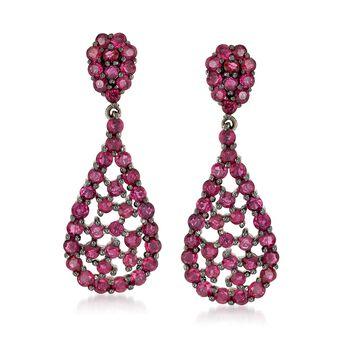 3.10 ct. t.w. Ruby Teardrop Cluster Earrings in Sterling Silver, , default