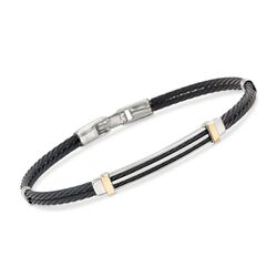 ALOR Men's Black Stainless Steel Cable Bar Bracelet With 18kt Yellow Gold, , default