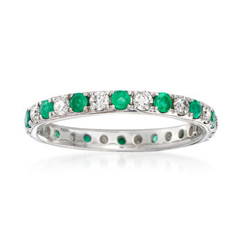 .40 ct. t.w. Emerald and .50 ct. t.w. Diamond Eternity Band in 14kt White Gold, , default
