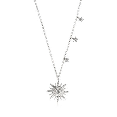 .10 ct. t.w. Diamond Starburst Pendant Necklace in Sterling Silver, , default