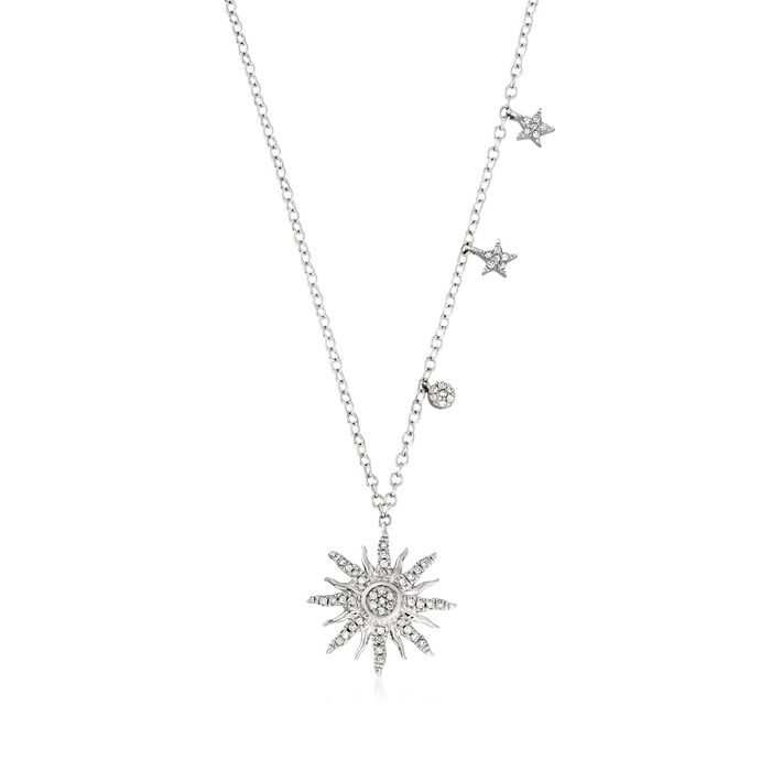 .10 ct. t.w. Diamond Starburst Pendant Necklace in Sterling Silver