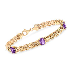 2.40 ct. t.w. Amethyst Station Byzantine Bracelet in 14kt Yellow Gold, , default