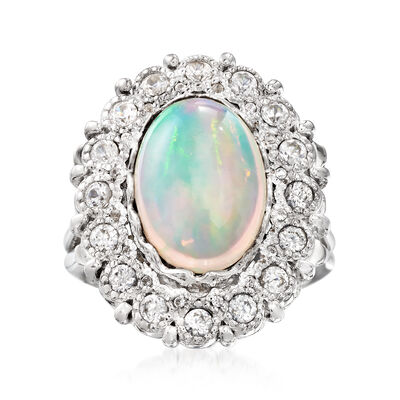 14x10mm Opal and 1.00 ct. t.w. White Zircon Ring in Sterling Silver, , default