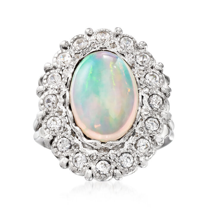 14x10mm Opal and 1.00 ct. t.w. White Zircon Ring in Sterling Silver