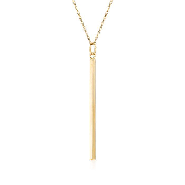 "14kt Yellow Gold Vertical Bar Pendant Necklace. 18"", , default"
