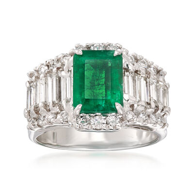 2.00 Carat Emerald and 1.30 ct. t.w. Diamond Ring in 18kt White Gold, , default