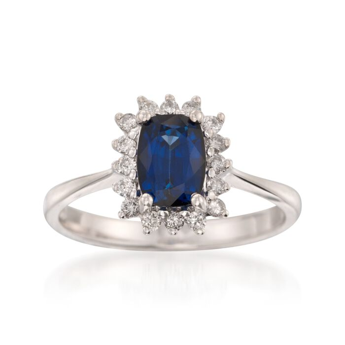 1.40 Carat Sapphire and .20 ct. t.w. Diamond Ring in 14kt White Gold