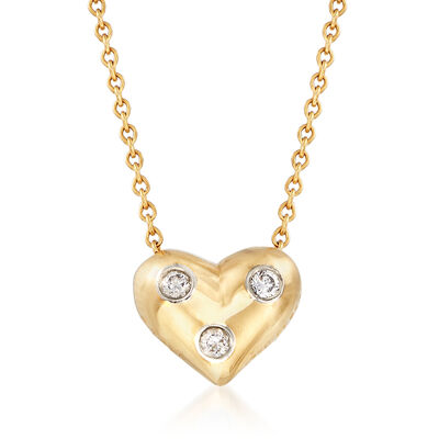C. 2000 Vintage Tiffany Jewelry 18kt Yellow Gold Heart Necklace with Platinum-Set Diamond Accents, , default