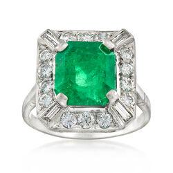 C. 1970 Vintage 4.00 Carat Emerald and 1.05 ct. t.w. Diamond Ring in Platinum, , default