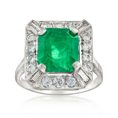 C. 1970 Vintage 4.00 Carat Emerald and 1.05 ct. t.w. Diamond Ring in Platinum, , default