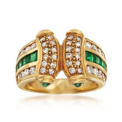 C. 1980 Vintage .90 ct. t.w. Emerald and .75 ct. t.w. Diamond Ring in 18kt Yellow Gold, , default