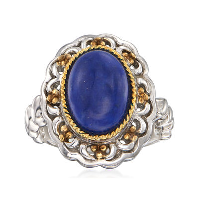 12x10mm Lapis Ring in 14kt Yellow Gold and Sterling Silver