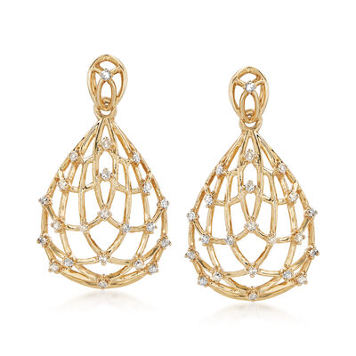 .37 ct. t.w. Diamond Pear-Shaped Openwork Drop Earrings in 14kt Yellow Gold, , default