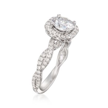 .80 ct. t.w. Diamond Crisscross Halo Engagement Ring Setting in 14kt White Gold, , default