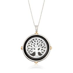 "Black Onyx and Mother-Of-Pearl Tree of Life Pendant Necklace in Two-Tone Sterling Silver. 18"", , default"