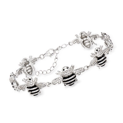 Synthetic Black Onyx and 4.90 ct. t.w. CZ Bee Bracelet in Sterling Silver