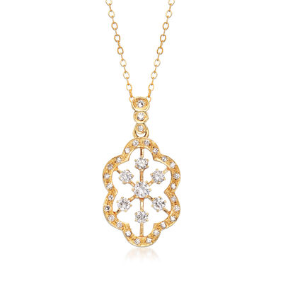 C. 1990 Vintage .85 ct. t.w. Diamond Cluster Pendant Necklace in 14kt Yellow Gold
