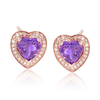2.00 ct. t.w. Amethyst and .20 ct. t.w. Diamond Heart Frame Earrings in 14kt Rose Gold Over Sterling, , default