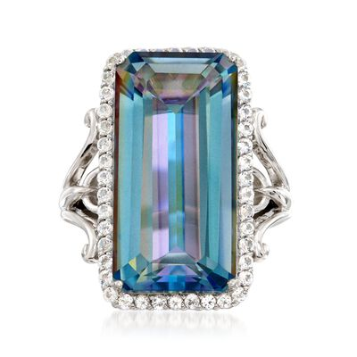 19.00 Carat Blue Quartz and 1.10 ct. t.w. White Topaz Ring in Sterling Silver, , default