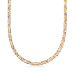 Italian 14kt Tri-Colored Gold Braided Herringbone Necklace, , default