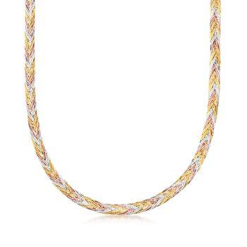 "Italian 14kt Tri-Colored Gold Braided Herringbone Necklace. 18"", , default"