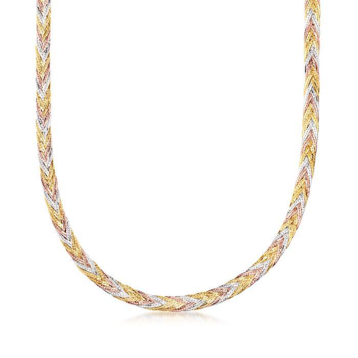 Italian 14kt Tri-Colored Gold Braided Herringbone Necklace