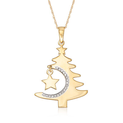 14kt Yellow Gold Cut-Out Christmas Tree Pendant Necklace with Diamond Accents, , default