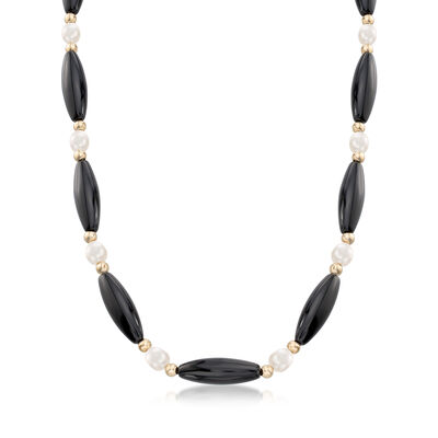 Black Onyx and Cultured Pearl Necklace in 14kt Yellow Gold, , default