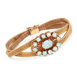 C. 1970 Vintage Opal Cluster Crisscross Bracelet in 14kt Yellow Gold, , default