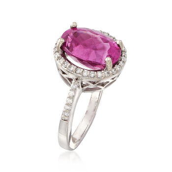 C. 1980 Vintage 5.20 ct. t.w. Pink Tourmaline and .30 ct. t.w. Diamond Ring in 14kt White Gold. Size 6.75, , default