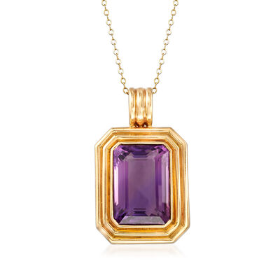 C. 1980 Vintage 21.50 Carat Amethyst Pendant Necklace in 14kt Yellow Gold, , default
