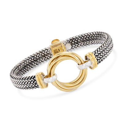 Italian Sterling Silver and 18kt Yellow Gold Over Sterling Silver Multi-Circle Bracelet, , default